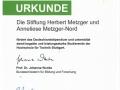 Urkunde Deutschlandstipendium Stuttgart